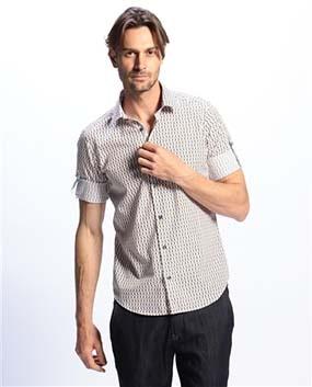 【MEN'S】BIRDSプリントロールアップスリーブシャツ