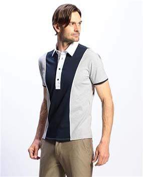 【MEN'S】カラーブロックプルオーバー半袖シャツ