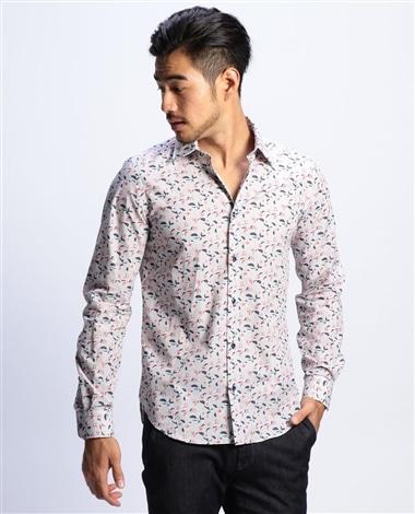 【MEN'S】スモールフラワープリント長袖シャツ