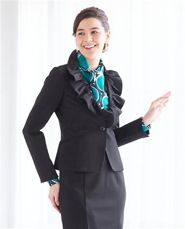 《セットアップスーツ対応》ポンチ長袖フリル襟ジャケット