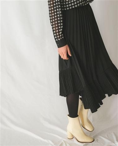 梨地プリーツスカート