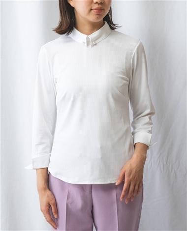 シャツ衿ピン付き6分袖プルオーバーカットソー