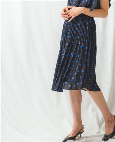 ミックスドットプリーツスカート
