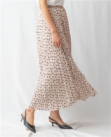 ミックスドットロングプリーツスカート