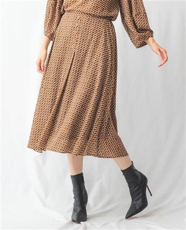 【セットアッ】ジョーゼット幾何プリントフロントボタンスカート