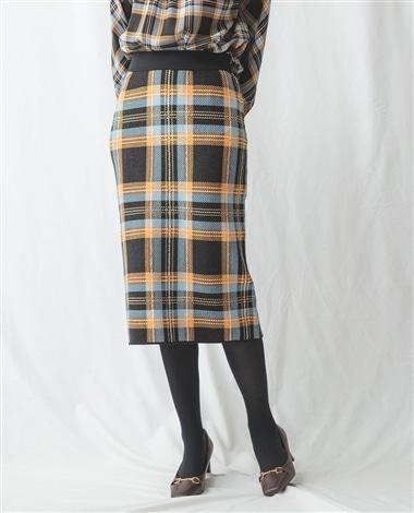 BIGチェックニットスカート