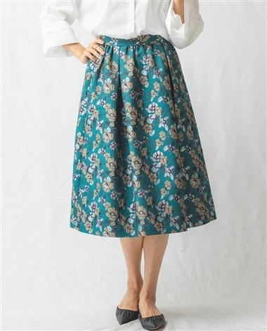 花柄ジャガードミモレ丈スカート