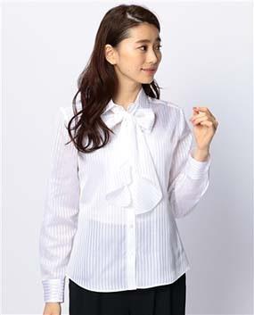 サテンストライプリボンタイ付き長袖シャツ