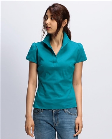 コットンスムーススタンドカラーチューリップ袖カットソーシャツ