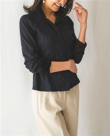 ウールジャージベロア襟レースシャツ