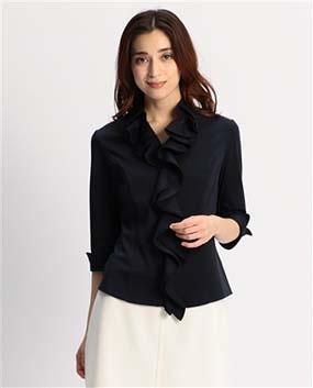 襟付きフリルカットソー七分袖シャツ