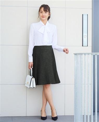 《セットアップスーツ対応》バーズアイソフトフレアースカート