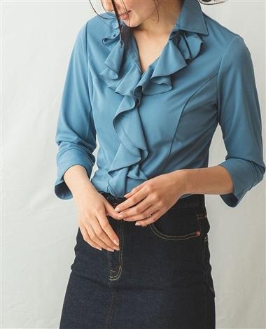 カットソー襟付きフリル七分袖ブラウス