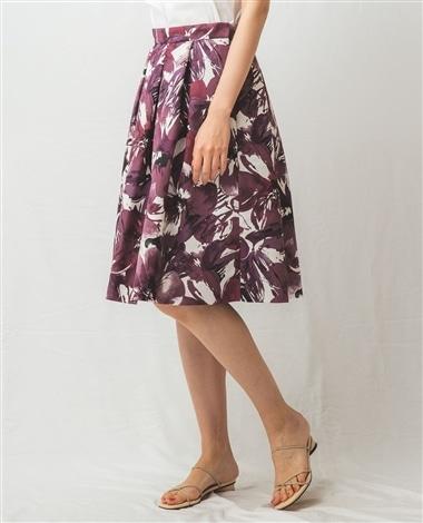 花柄プリントフレアスカート